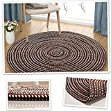 Chair Mat Office Hard Floor Protection Round Living Room Rug Non Slip Polyester Manual Weaving,Coffee-140cm