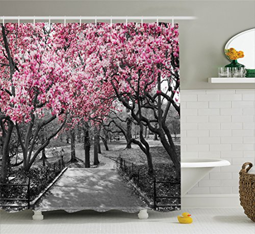 Ambesonne NYC Decor Collection, Blossoms In Central Park Cherry Bloom Trees Forest Spring Springtime Landscape Picture, Polyester Fabric Bathroom Shower Curtain Set with Hooks, Pink Gray - Pink Bathroom Shower Curtain