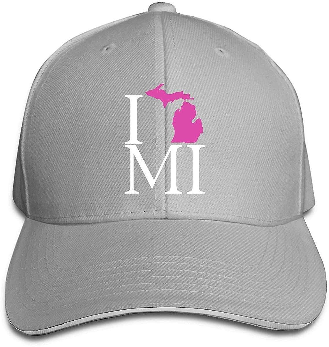 I Love Michigan Pink 1 Men Womens Trucker Cap 100% Cotton ...