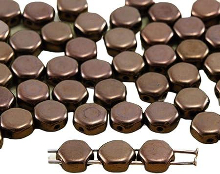 30 count Matte Metallic Flax 6mm Bronze Pale Gold 2-Hole Beads, HCJ-00030-01710 Honeycomb Jewel Bead
