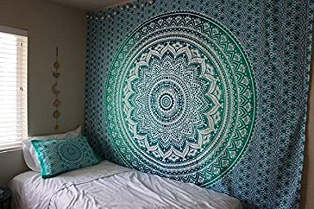 Jaipur Handloom Ombre Tapestry Trippy Mandala Tapestry Wall Hanging Hippie Wall Tapestries Dorm Decor Ombre Bedding Bohemian Bedspread Bed Cover Bedding Beach Throw 54 X 60 inches, Orange