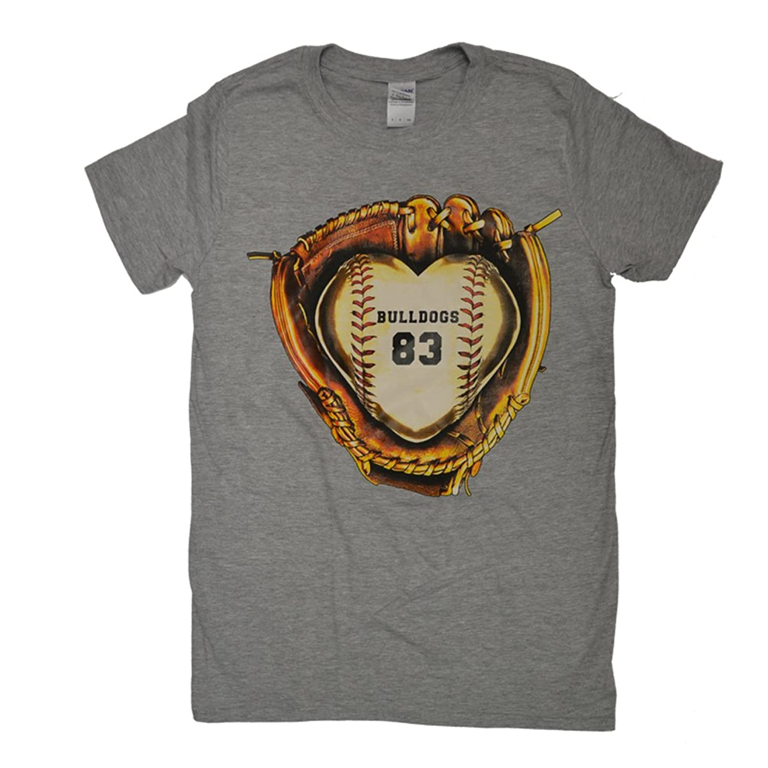 Tees2urdoor Baseball Glove Monogram Sports Grey T-shirt Name/Number