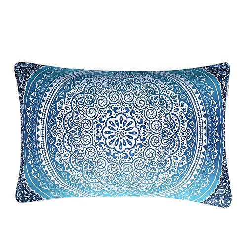 Sleepwish Elephant Mandala Pattern Pillow Case Crystal Arrays Blue Bedclothes Mandala Printed Pillowcase (1 Case) (20 x 30 Inches)