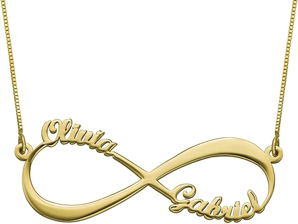 Lovenus Personalized Infinity Necklaces with Birthstone 925 Sterling Silver Customized Infinity Pendant Custom Friendship Necklace for Christmas Thanksgiving Day