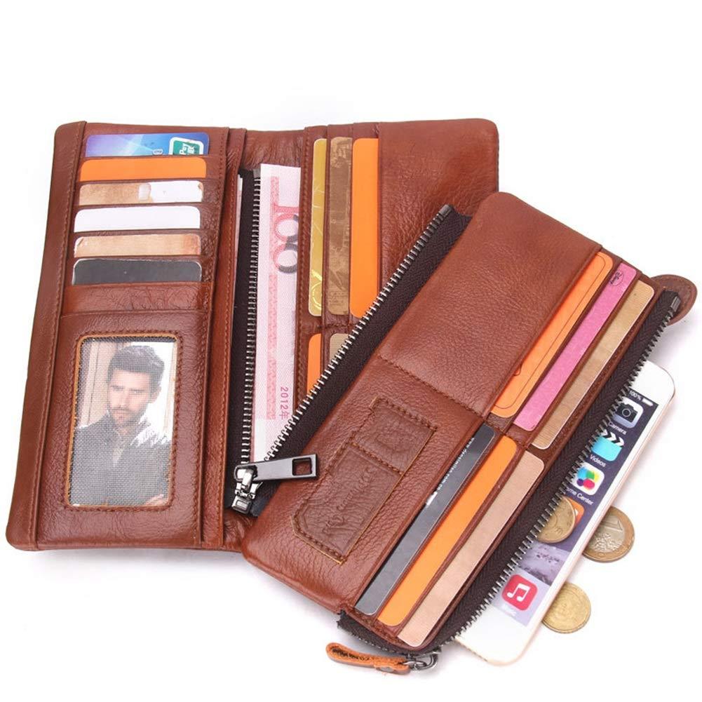 Genuine Leather Long Buckle Detachable Coin Purse Color : Brown, Size : 20cm2.5cm9.5cm HWX Mens Wallet