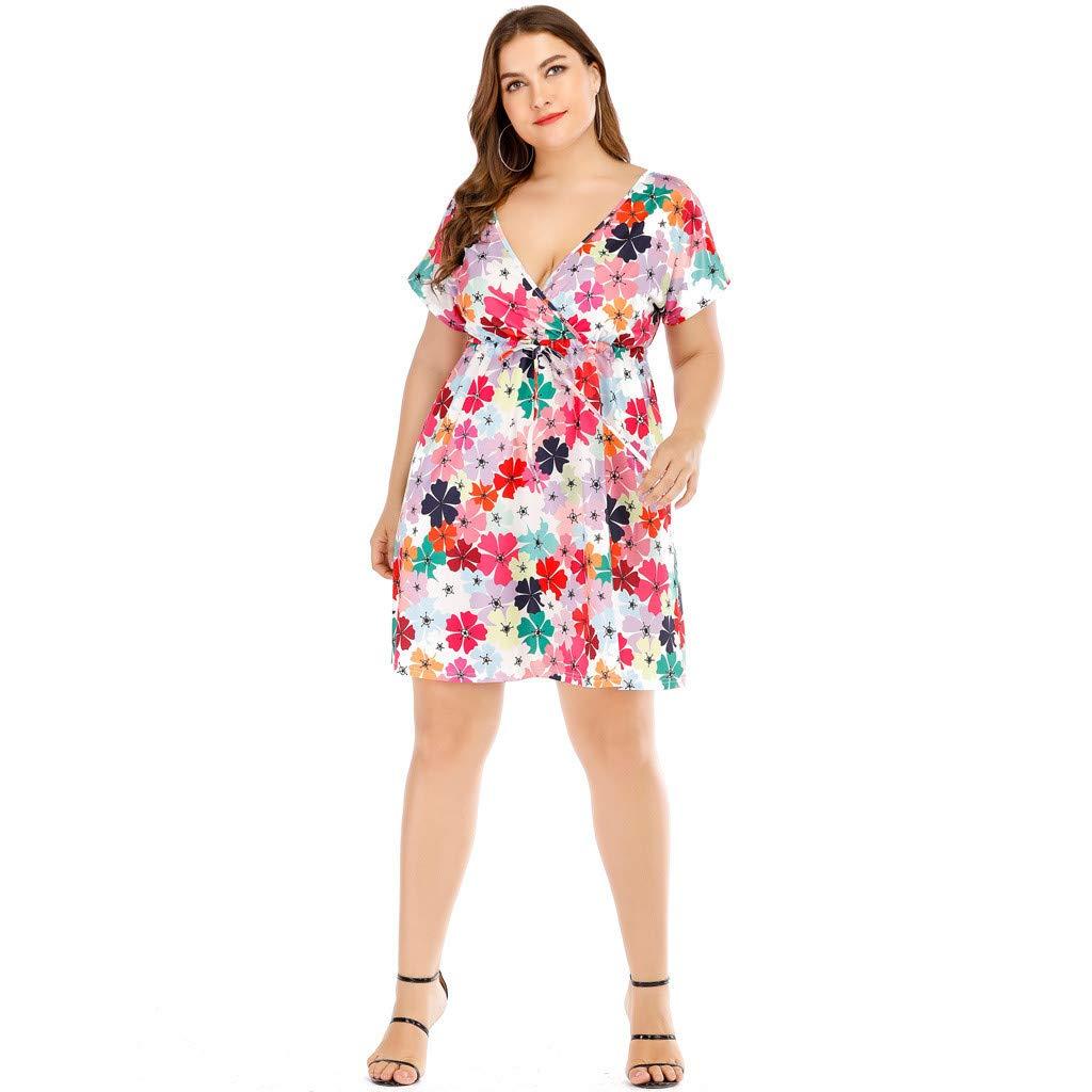 Vestito Donna Taglie Forti Dragon868 Bohemia Manica Corta Floreale Mini Dress con Scollo a V Fiocco Larghi Partito Beach Dress 2019 Spiaggia Estate