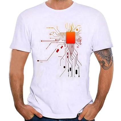 LuckyGirls Camisetas Hombre Verano Manga Cortos Estampado de Diagrama  Electrónico Remera Moda Originales Polos Casual Personalidad f65454e795be9