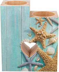 Candle Holders Set of 2 Ocean Sea Seashell Starfish on Teal Wooden Tealight Candle Holder Stand Tea Lights Candlestick Wood Prayer Pedestal Heart Shaped Decorative Centerpiece Decor