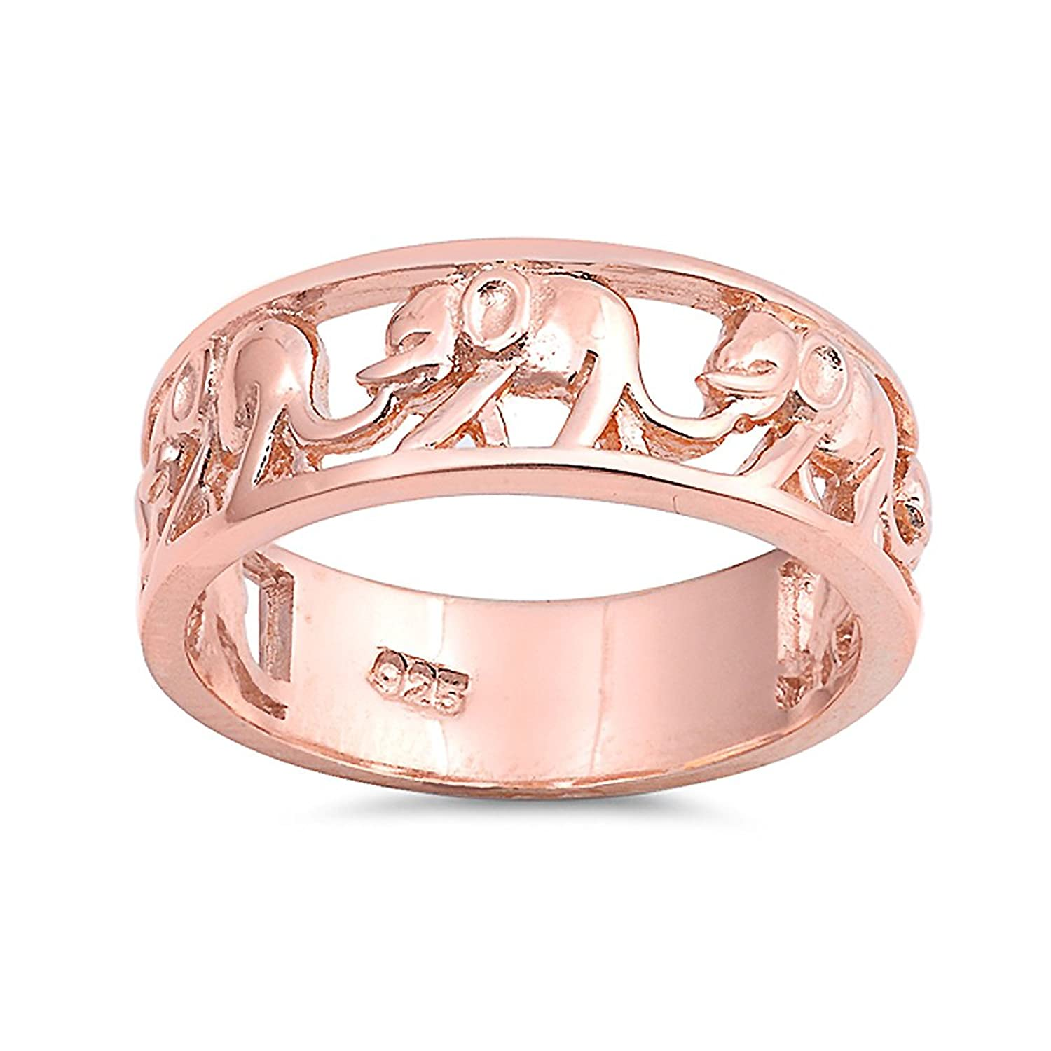 Amazon.com: Sterling Silver Rose Gold Plated Elephant Ring: Jewelry