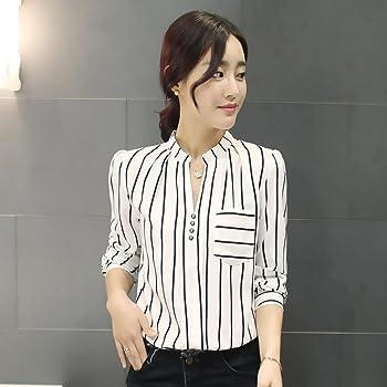 Botón de la Camisa Mujer, Blusa a Rayas de Manga Larga para Mujer Blusa a Medida para Mujer en la Oficina(S, Blanco) : Amazon.es: Ropa y accesorios