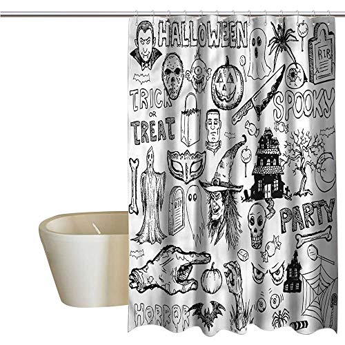 Wixuewu Shower Curtains Blue and Grey Vintage Halloween,Treat Party,W36 x L72,Shower Curtain for Girls -