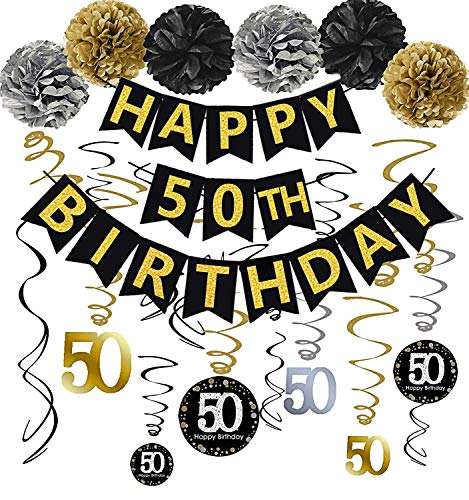 Black & Gold Glittery Happy 50th Birthday Banner,Poms,Sparkling 50 Hanging Swirls Kit for 50th Birthday Party 50th Anniversary Decorations Supplies