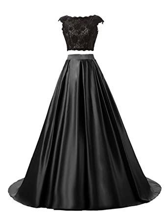 Vickyben Women Two-Pieces Lace Satin Evening Dress Bridesmaid Dress Ballgown Prom Dress