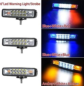 "2pcs 7.5/"" 36W Stroboflash Amber//White Led Light Bar Offroad Driving Lamp Remote"