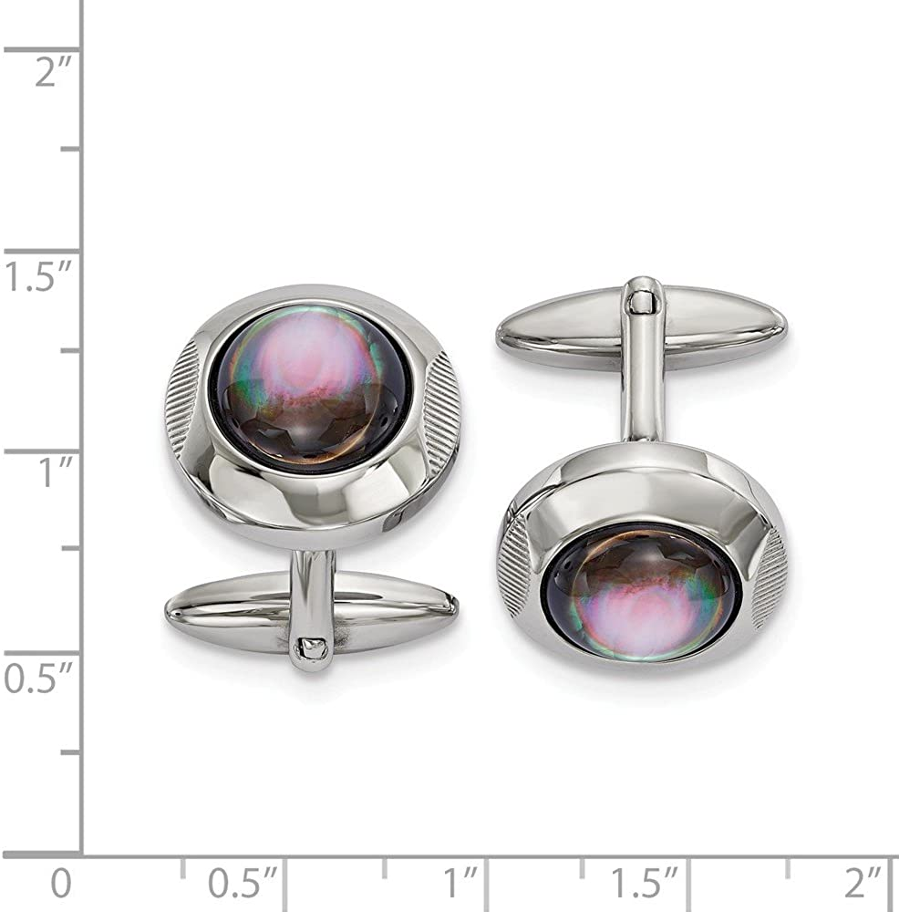 Saris and Things Stainless Steel Polished Round Mother of Pearl Cuff Links