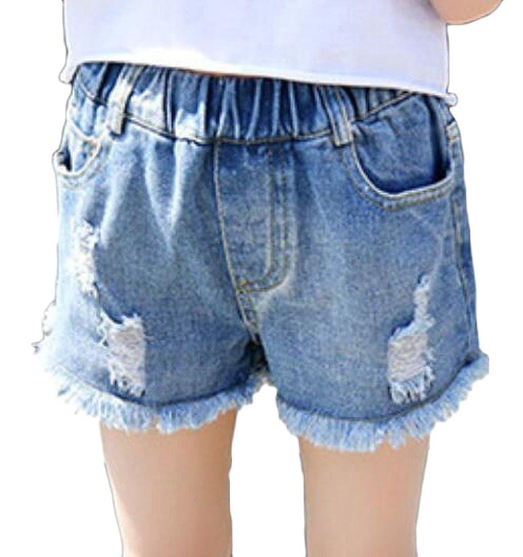 Pandapang Toddler Girls Cutoff Elastic Waist Pull On Ripped Holes Faded Hot Denim Shorts