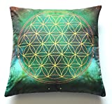Flower Of Life Geometry Symbol Meditation Double Sided Cushion Pillow Cover 17''x17'' Green