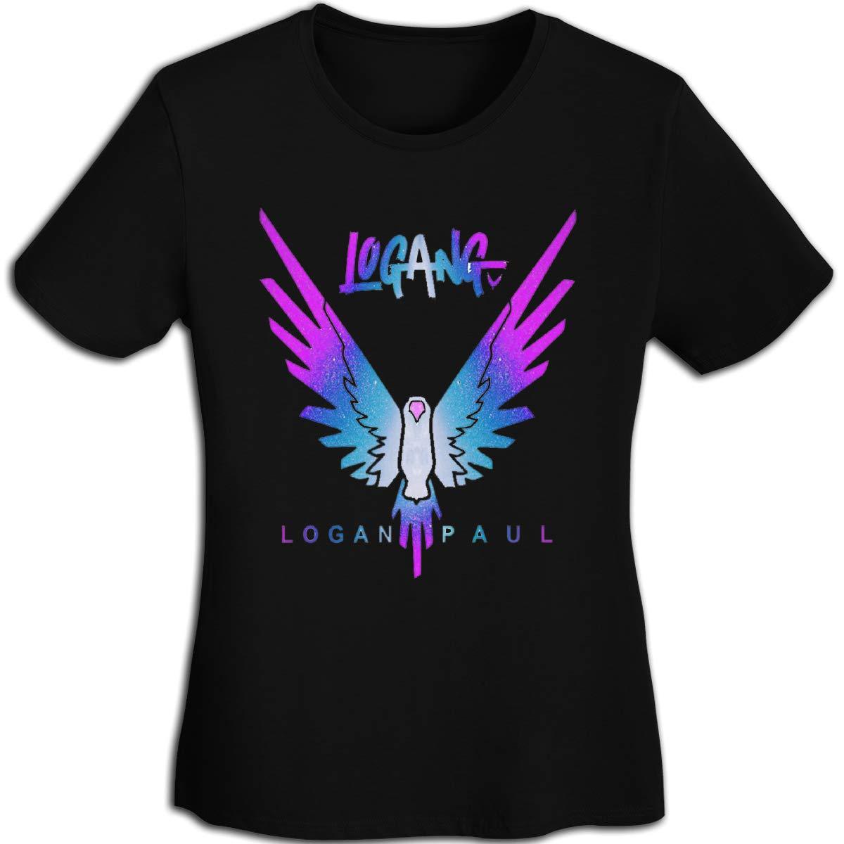 Women's T Shirt Jake Paul Logang Logan Paul Maverick Tee Shirts T-Shirt Short-Sleeve Round Neck Tshirt for Womens Girls Black L by BKashy