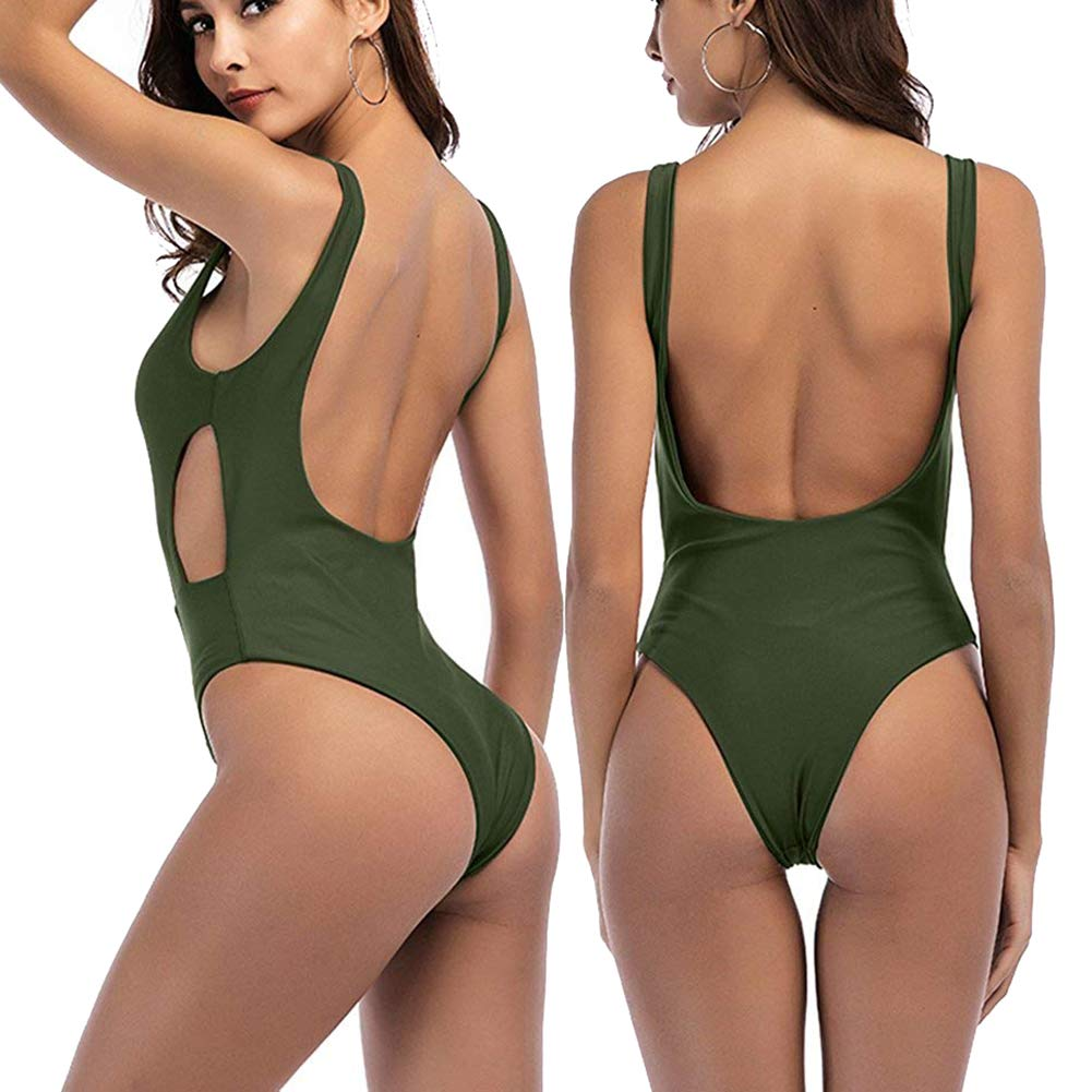 f4bdfa392edc4 Zaoqee Women's High Cut Backless Swimsuit Sexy Monokini Thong One Piece  Bathing Suit at Amazon Women's Clothing store: