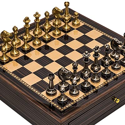 Bello Stefano Solid Brass Staunton Chessmen from Italy & Seventh Avenue Maple & Walnut Chess Board/Cabinet with Two Drawers
