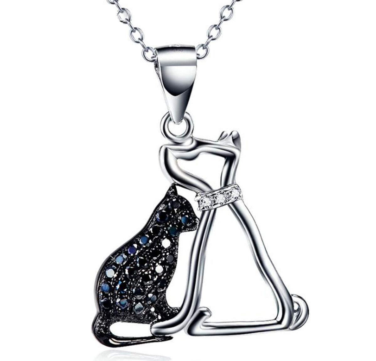 Onlyfo 925 Silver Diamond Accent Filigree Pet Cat and Dog Pendant Necklace with Jewelry Box,Dog Necklace for Women (Silver) by Onlyfo