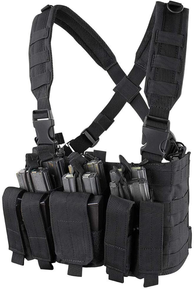 ATG Tactical Recon Rifle Pistol Magazine Pouches Chest Rig (Black)