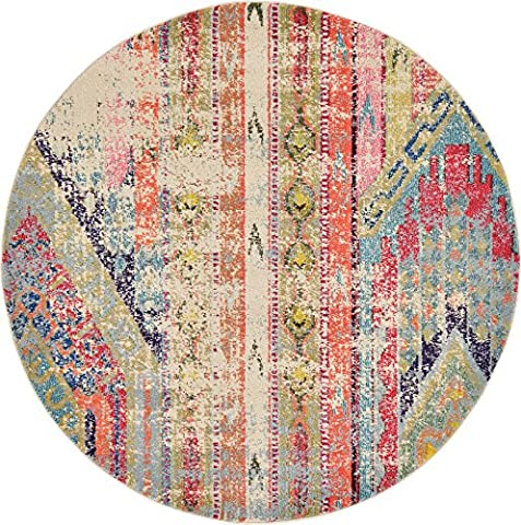 Unique Loom 3127705 Area Rug, 6 x 6 round, Multi (Gray And Pink Round Rug)