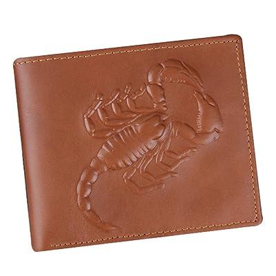 OUCHI Men's Genuine Leather Vivid Scorpion Emboss Retro Portable Purse Wallet
