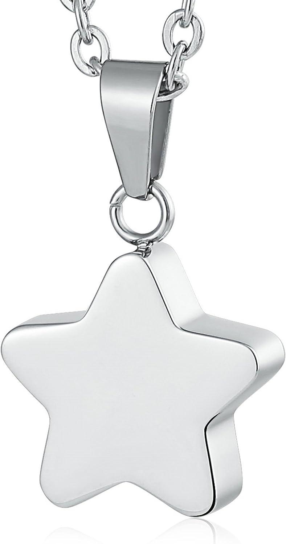 AnazoZ Acero Inoxidable Memorial Collar de Cremación Collar para Cenizas Colgante de Recuerdo Suave Estrella Plata