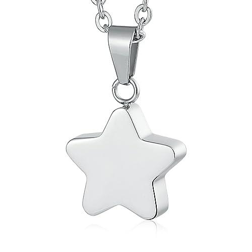 Daesar Grabado Collar Estrella Collar Cenizas Plata Colgante ...