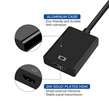 USB 3.0 to HDMI Adaptador USB 3.0 a HDMI, adaptador USB a HDMI, adaptador de vídeo HD 1080P para portátil HDTV TV Windows 7/8/10 PC, (no MAC & VISTA), ...