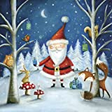 Christmas Paper Luncheon Napkins 40pcs 13''x13'' Santa and Forest Animals