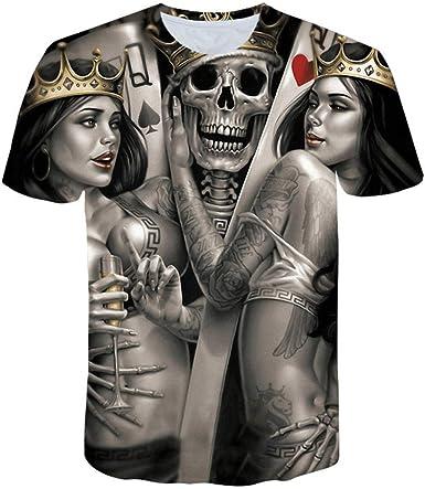 Camisetas Camiseta De Cráneo Verde De Hip Hop con Estampado 3D para Hombre Camiseta Negra Punk Rock para Hombre Ropa De Verano Streetwear @ Ghost Head_S: Amazon.es: Ropa y accesorios