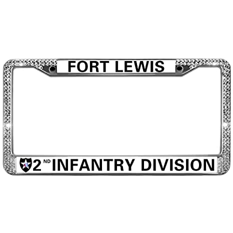 Amazon.com: Chrome License Plate Frame,Fort Lewis 2ND Infantry ...