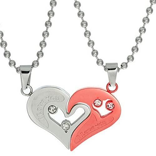 5ace03c067 Uloveido 2pcs Stainless Steel Mens Womens Necklace Friendship Puzzle  Matching CZ I Love You Pendants Necklace, Great (Red) SN102: Amazon.ca:  Jewelry
