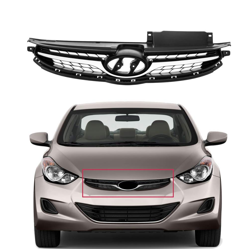 MotorFansClub Automotive Front Grill, Replacement Chrome Bumper Insert Grill Grille for Hyundai Elantra 2011-2013