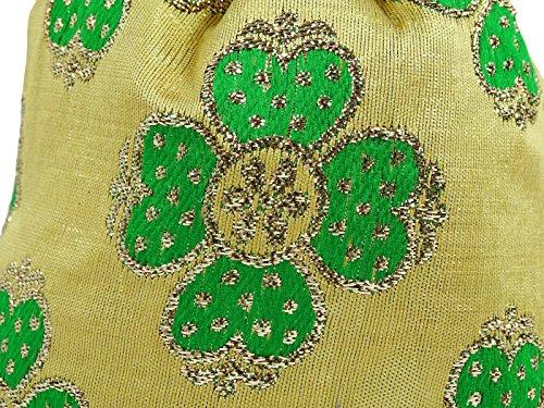 """Hecho a mano florales diseñador nupcial de las mujeres bolsa bolso de Potli mujeres bolso 8 """"pulgadas - elegir el color Verde"""