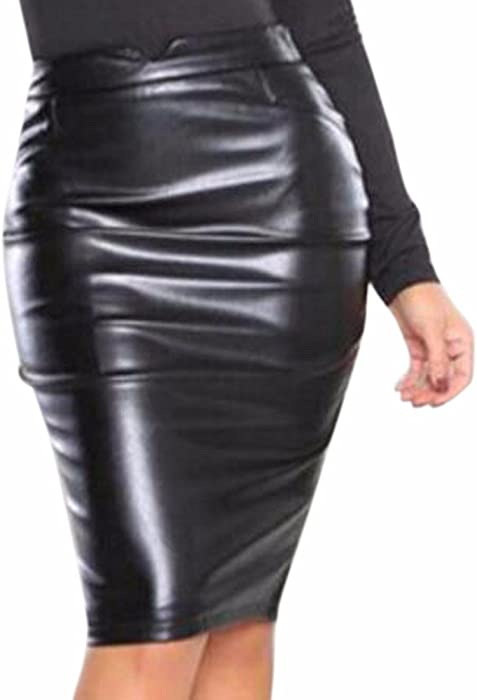 63b0882e7d Z Womens Faux Leather Elastic Waistband Bodycon Midi Skirt Stretch Wet Look  Pencil Fitted Tube Skirt: Amazon.co.uk: Clothing