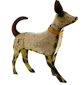 """My Swanky Home Recycled Metal 12"""" Dog Statue 