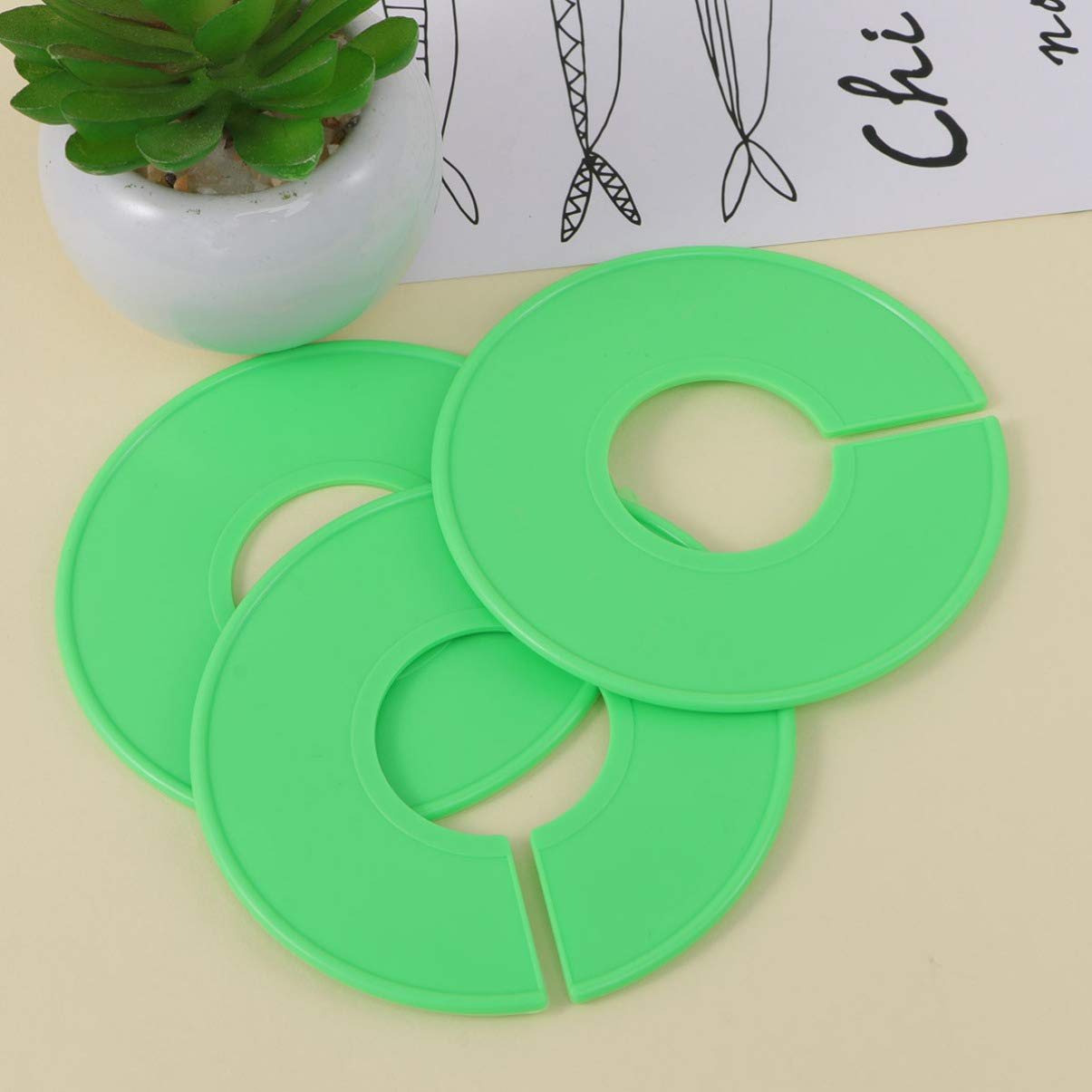 Cabilock 3 piezas separador tama/ño armario ropa vac/ía estante divisores de tama/ño percha redonda anillo de clasificaci/ón para cintura accesorios de ropa-verde