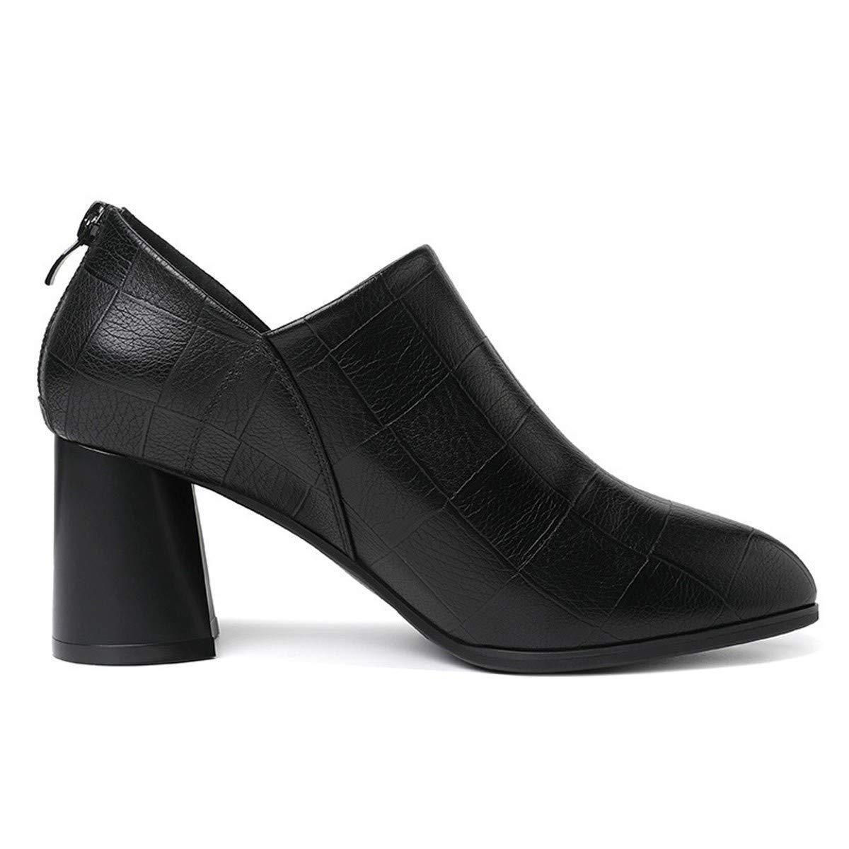 Thirty-eight noir SFSYDDY Chaussures Populaires Nouveau Talon Haut Chaussures 6 5 Cm De Talon Haut Talon épais De Style Britannique A Souligné Les Chaussures De Femmes.