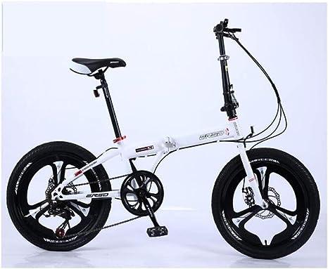 Xiaoping Bicicleta Plegable 20 Pulgadas de Peso Ligero Bicicleta Adulta for Mujer Bicicleta Ultraligera portátil Velocidad de Estudiante (Color : White): Amazon.es: Deportes y aire libre
