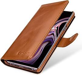 StilGut Talis Case Portafoglio, Custodia in Vera Pelle Cover per Samsung Galaxy Note 9 con Chiusura Magnetica, Cognac