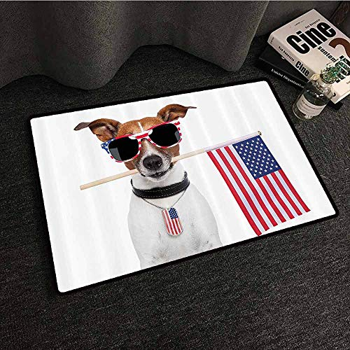 - Dog Lover Decor Collection Non-Slip Door mat American Dog with USA Flag and Shades Sunglasses Liberty Anniversary Independence Personality W35 xL47 Red Navy Brown