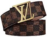 [TGVQUN] Luxury Designer Checker style Belt for women men unisex [3.7CM width] (110CM [waist below 35''], Brown)