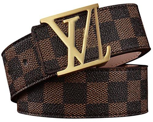 Luxury Designer Gold VV Style Women Girl Fashion Belt [3.8CM Width] (Brown V, 125CM [Waist 38~42