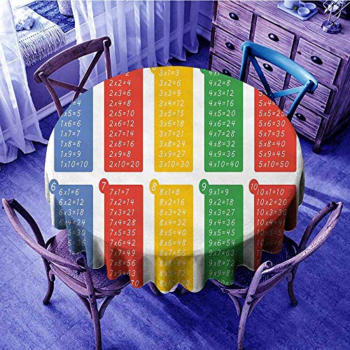 - Educational Jacquard Tablecloth Colorful Classroom Multiplication Table Between One to Ten Elementary School Beach Round Tablecloth Multicolor Diameter 54
