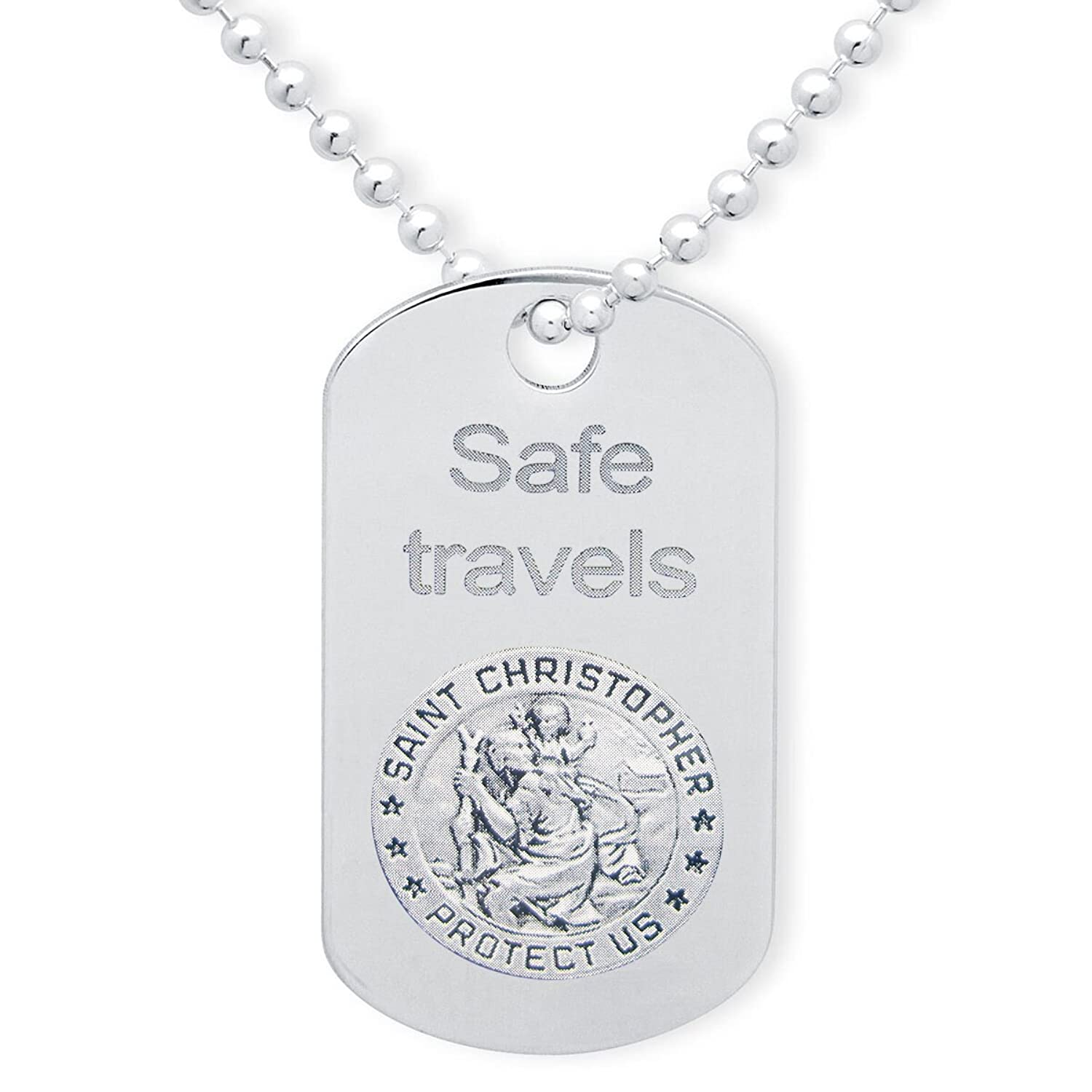 925 Saint Christopher Sterling Silver FREE ENGRAVING Personalised Gift