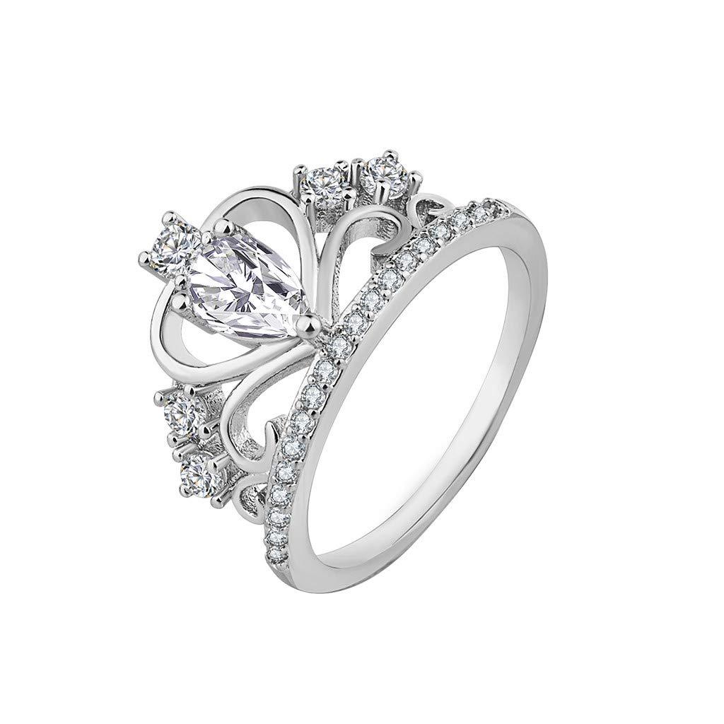 Women Simple Platinum Boutique Ring Fashion Crown Zircon Ring Ring Under 5 Dollars Valentine's Day Gifts for Girlfriend Boyfriend (US Size)
