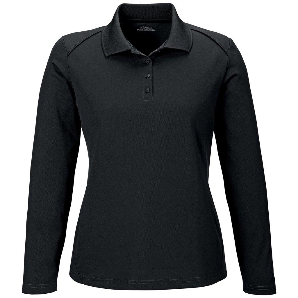 Ash City Ladies Armour Long Sleeve Polo (X-Small, Black)